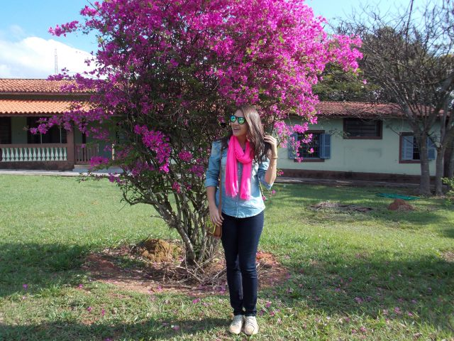 look lenço pink