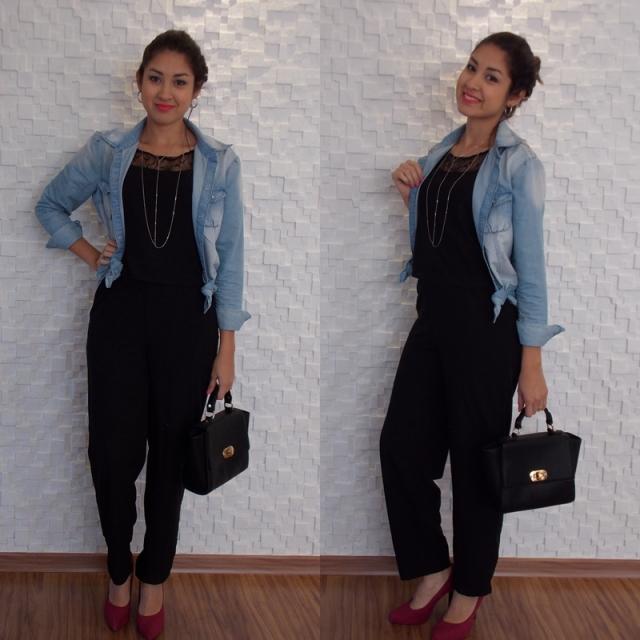 Camisa jeans com macacão camisa com 2 nós