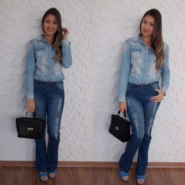 look camisa jeans com calça jeans Total jeans